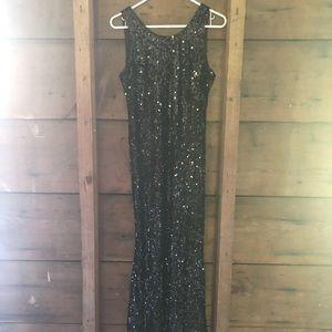 Stunning Black Sequin Maxi Dress Size S